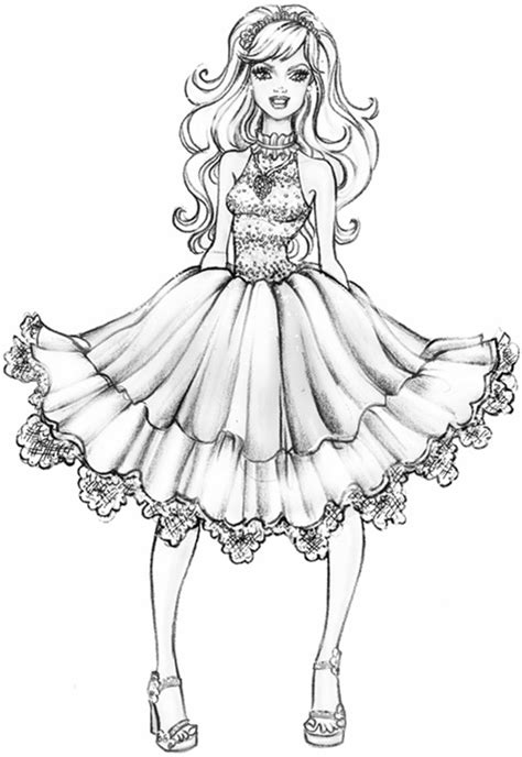 coloring page barbie a fashion fairytale photo