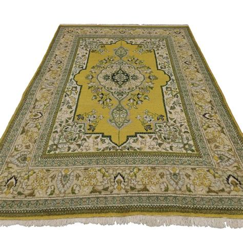 green and yellow rug green and yellow vintage tabriz rug with traditional style for sale at 1stdibs