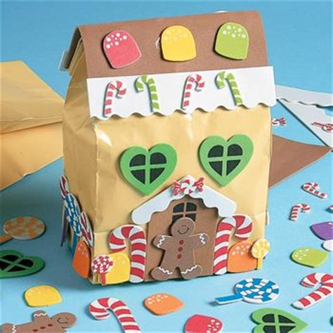 Paper Gingerbread House Craft - paper bag gingerbread house crafts