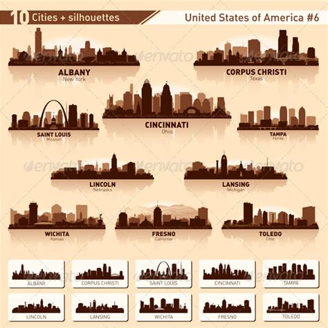 skyline city set 10 cities of usa 6 buildings objects