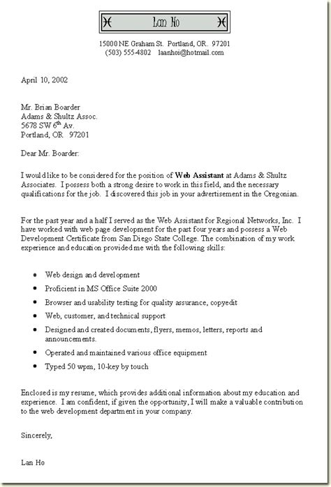 Free Cover Letter Exles For Resume by Best Free Cover Letter Exles Slebusinessresume Slebusinessresume