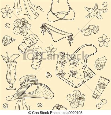 beach themed drawing vectors of seamless background on beach theme seamless