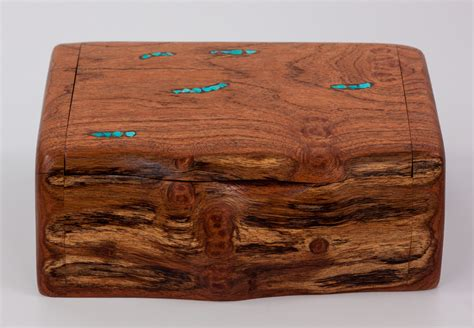 Mesquite Log Box, wooden natural jewelry box, turquoise jewelry box, bandsaw style box