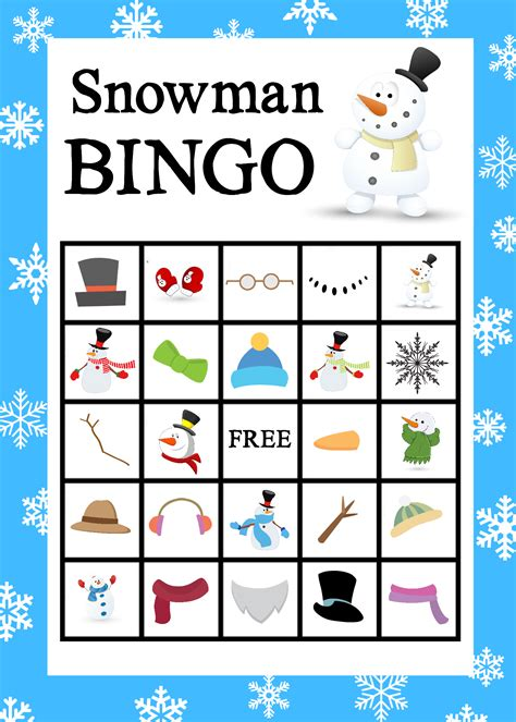 Printable Bingo printable snowman bingo projects