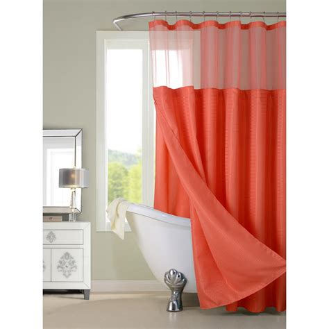 dainty home complete   coral shower curtain cscdlco