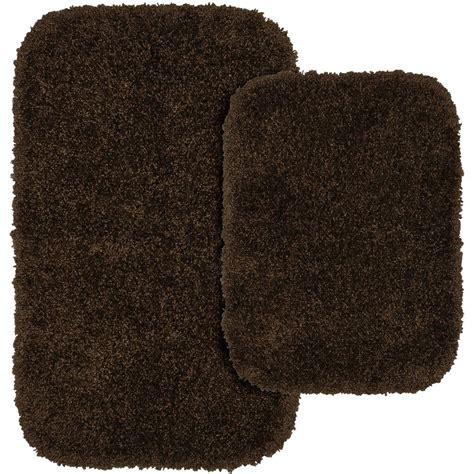 Chocolate Brown Bathroom Rugs Garland Rug Serendipity Chocolate Brown 21 In X 34 In Washable Bathroom 2 Rug Set
