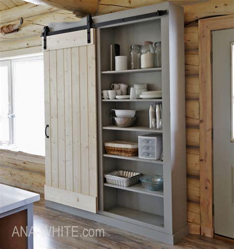 barn door cabinet  pantry ana white