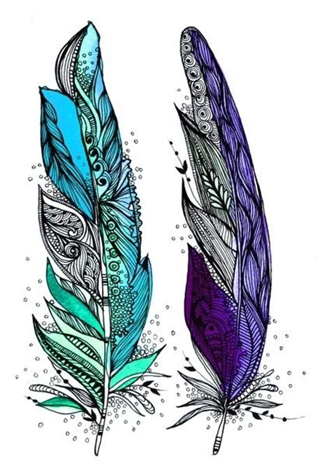 feather tattoo purple blue mint and purple feather artwork tattoo idea