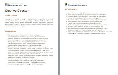 Creative Director Job Description A Template To Quickly Document The Role And Responsibilities Church Director Description Template