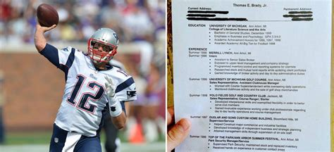 Tom Brady Resume by Help Wanted Tom Brady S Resume Includes Golf Gigs