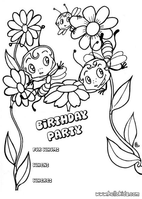 invitation card coloring page bees birthday party invitation coloring pages