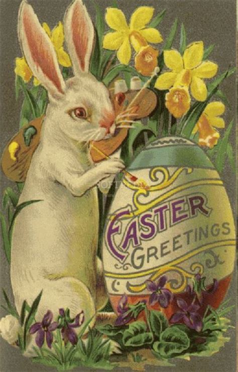 vintage easter card with bunny and egg for cards