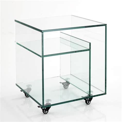 comodino vetro tavolino comodino con portariviste in vetro su ruote