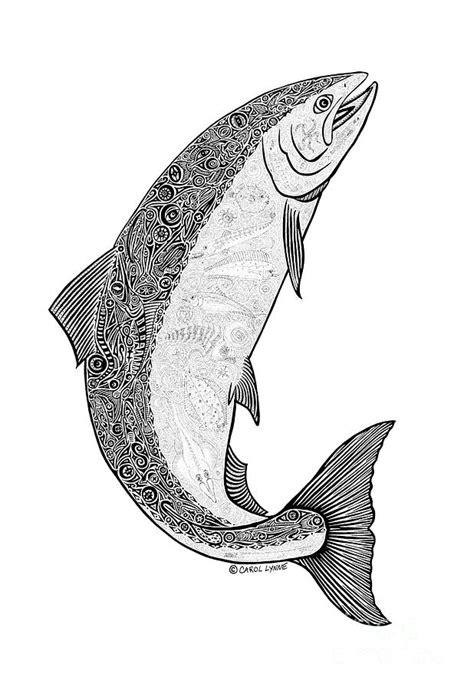 salmon ii drawing by carol lynne