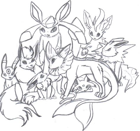 cute pokemon coloring pages eevee eevee family evolution by luckyferret06 on deviantart