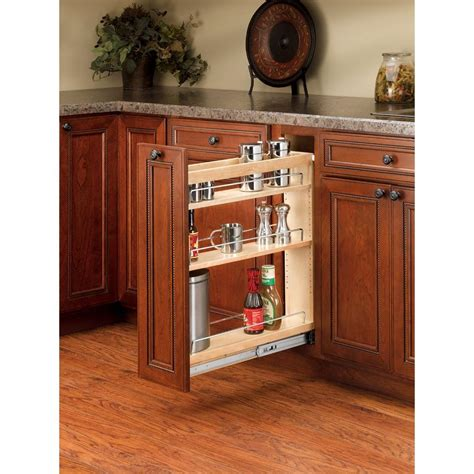 Slide Out Organizers Kitchen Cabinets Rev A Shelf 25 48 In H X 5 In W X 22 47 In D Pull Out Wood Base Cabinet Organizer Light