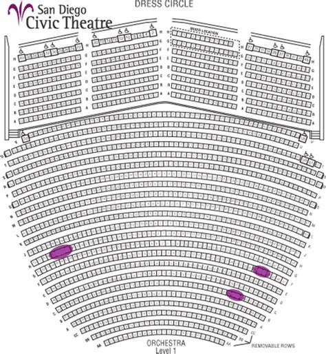 san diego civic center seating chart civic theatre