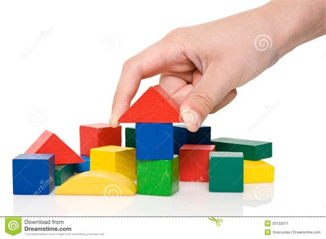 colored blocks make a building of colored blocks stock image