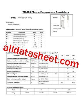 transistor d882 y datasheet d882 datasheet pdf daya electric co ltd
