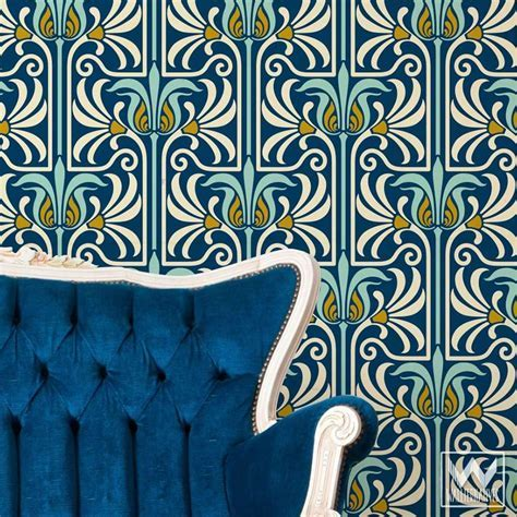 Art Nouveau Feather Damask Removable Wallpaper   Dream