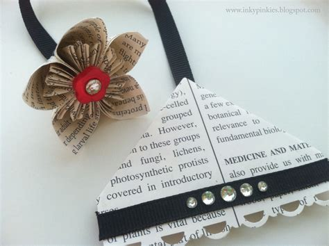 Origami Flower Bookmark - inkypinkies corner bookmark with origami flower dangle