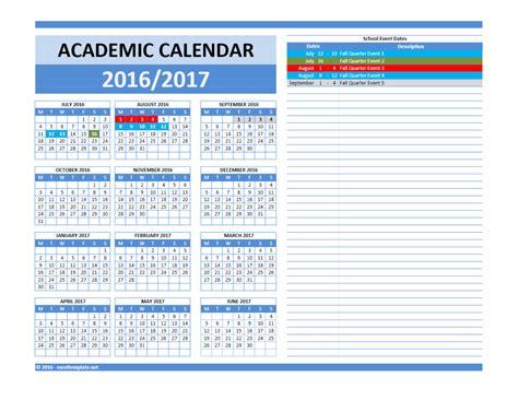 Calendar 2017 Template Excel 2017 2018 And 2016 2017 School Calendar Templates Excel