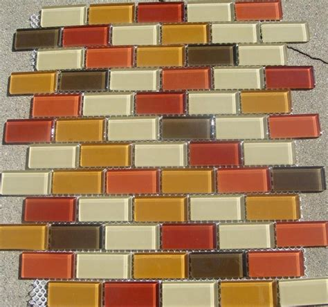 b18 brown orange glass mosaic tile contemporary