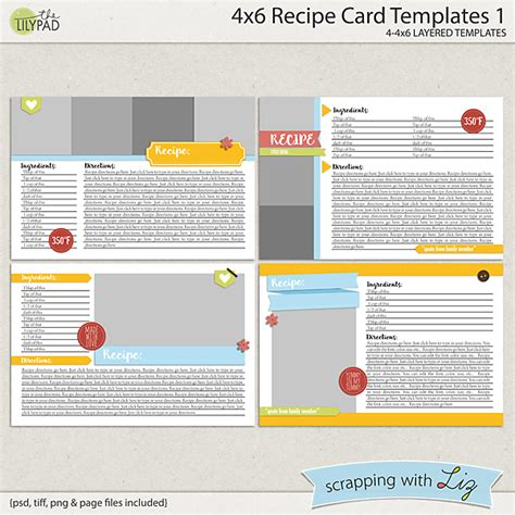 4x6 Recipe Card Word Template by Digital Scrapbook Templates 4x6 Recipe Card 1