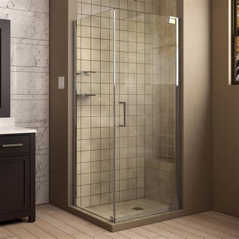32 Shower Door Shop Dreamline Elegance 32 In To 32 In Frameless Chrome Pivot Shower Door At Lowes
