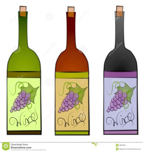 clip art illustration of a collection of 3 wine bottles in green red