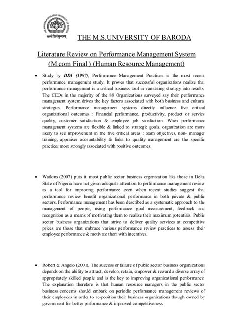 local literature in thesis about education literature review on performance management system
