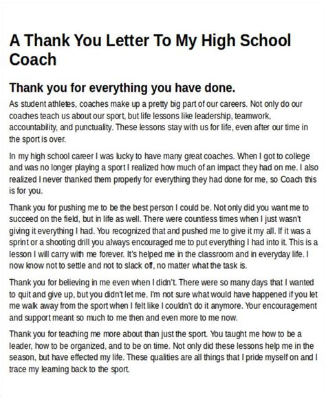 thank you letter to my highschool sle thank you letters to coach 6 exles in word pdf
