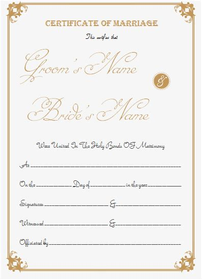 Marriage Certificate Template Write Your Own Certificate Marriage Certificate Template Microsoft Word