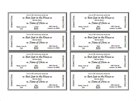 printable event tickets ticket template 91 free word excel pdf psd eps