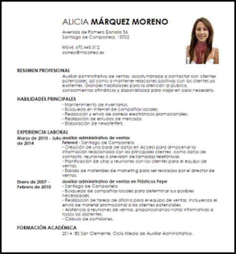 Modelo De Curriculum Vitae De Un Administrativo Modelo Curriculum Vitae Auxiliar Administrativo De Ventas Livecareer