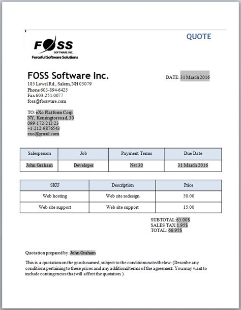 software quotation template invoice and quotation software for small businesses and