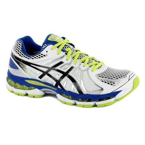 asics mens gel nimbus 15 running shoes white black lime