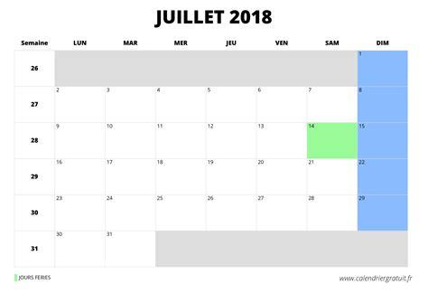 Calendrier 20 Juillet 2018 Calendrier De Juillet 2018 224 Imprimer
