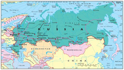 map of russia with cities and rivers ob river map