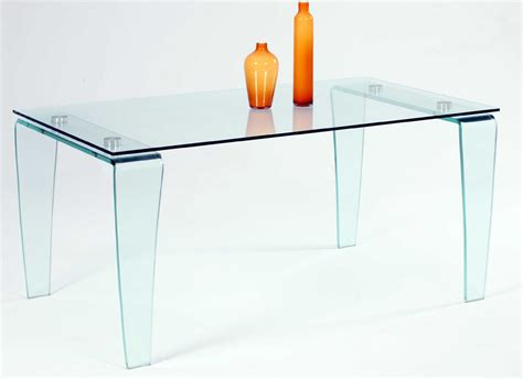 contemporary all glass dining table with clear top and