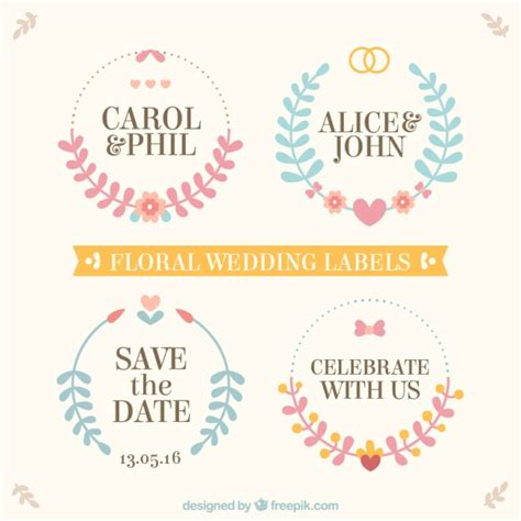Wedding Labels by Floral Wedding Labels Vector Free