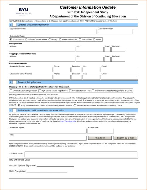 Letter Customer Update Contact Information 13 Customer Information Form Template Authorizationletters Org