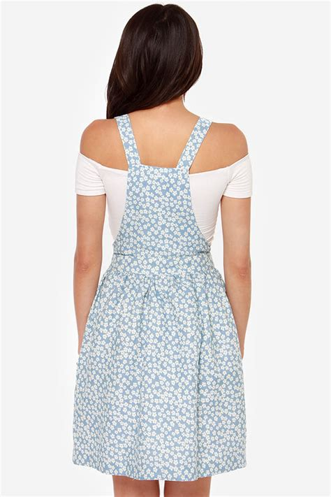 17684 Blue Floral Overall Dress by Blue Dress Overall Dress Floral Print Dress 46 00