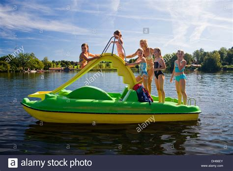 pedal boat german children girls 8 years old playing on a pedal boat with