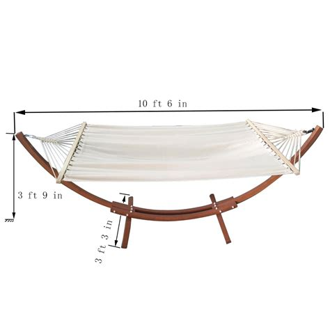 Wide Hammock With Stand Patio Pine Wooden Wide Arc Hammock Stand With Canvas