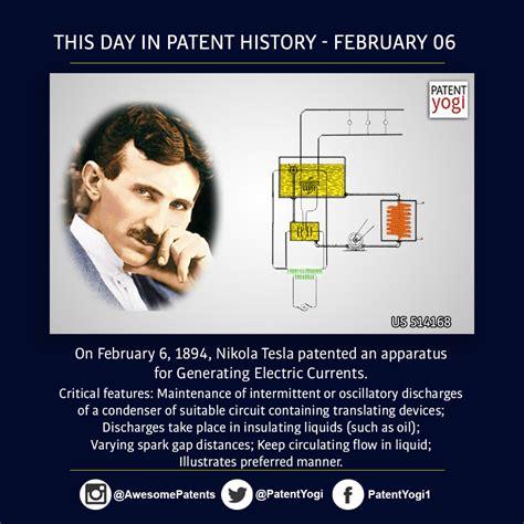 history of nikola tesla this day in patent history on february 6 1894 nikola