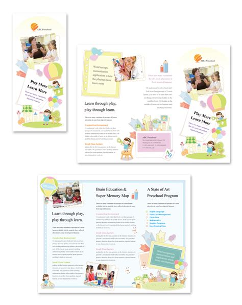 preschool tri fold brochure template school brochure