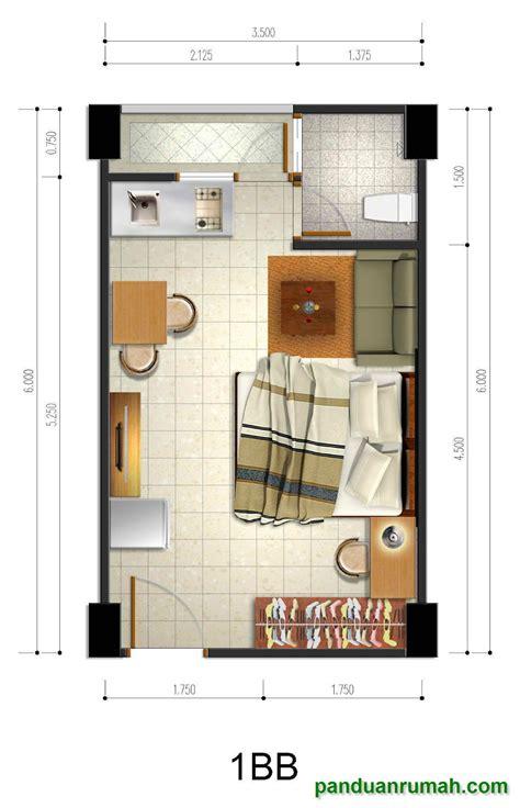 desain denah kamar apartemen