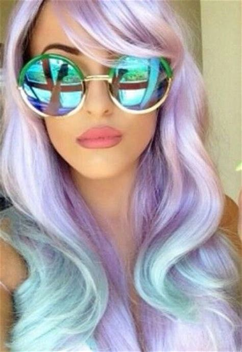 Lila Top Teal White pastel purple lavender blue ombre dyed hair color