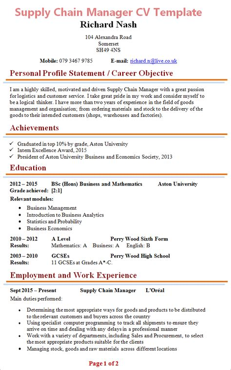 Professional Cv Writing Sles by Curriculum Vitae Sles Free 100 Images